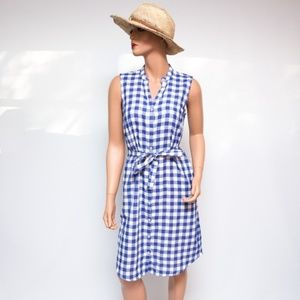 Tommy Bahama Blue & White Checked Buttondown Dress